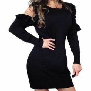 ANIMALE Black Cold Shoulder Ruffled Sweater Dress